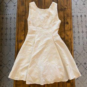 White Lace Fit & Flare V Back Dress size XS